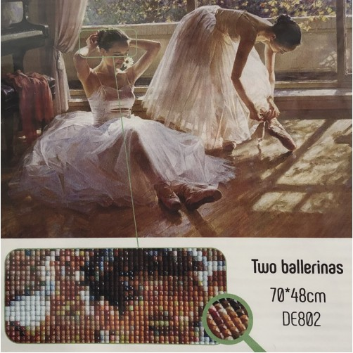 Collection D'Art Diamond Painting Misura 70x48cm, Two Ballerinas