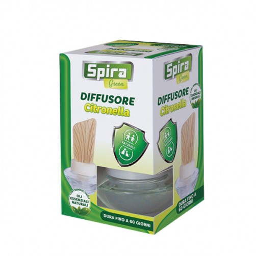 DIFFUSORE ESSENZA CITRONELLA     ml 60 SPIRA GREEN