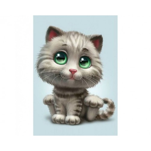 Collection D'Art Diamond Painting Cute Green-eyed kitten Misura 27x19 Cm