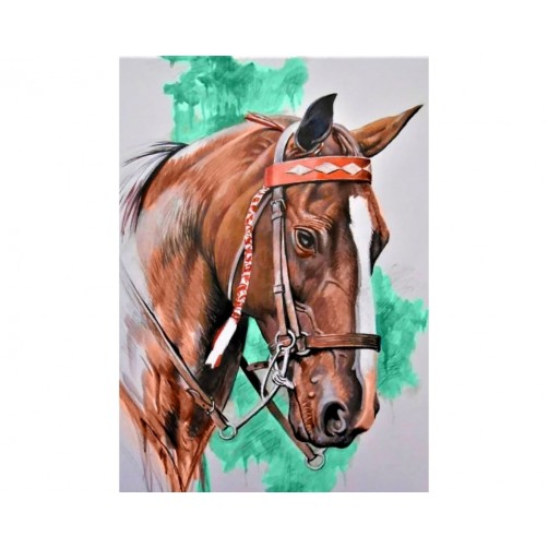 Collection D'Art Diamond Painting Cute Horse`s headMisura 27x38 Cm