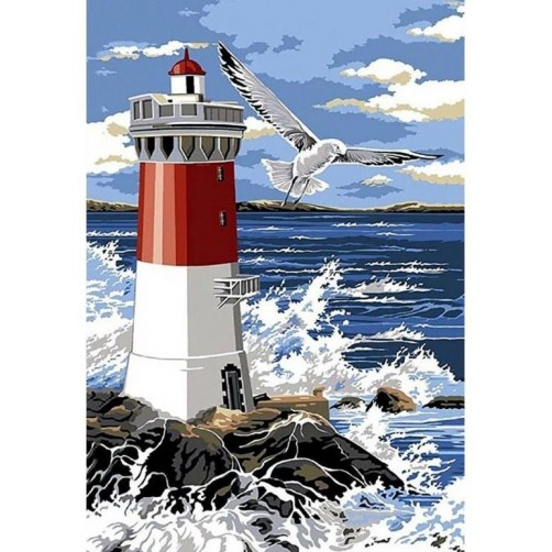 Collection D'Art Diamond Painting Misura 70x48cm, Lighthouse and Waves