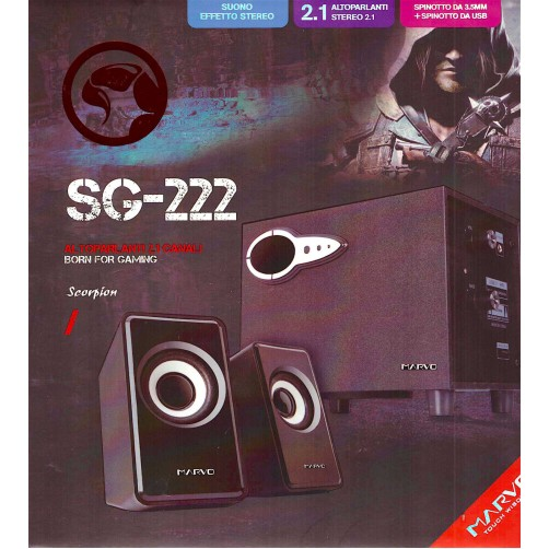 Altoparlanti Casse Stereo  2.1Canali Scorpion Marvo Born Fof Gaming SG-222