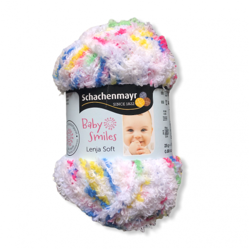Gomitolo Baby Smiles Lenja Soft 25g, bianco mix color n°80