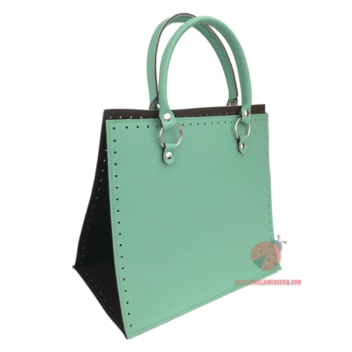 Set Borsa Completa in Ecopelle con Manici Teal