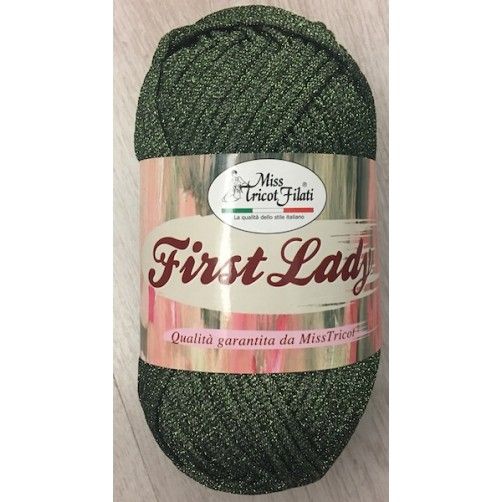 LANA FIRST LADY LAME' GR 100 MT 100 100% POLIESTERE COL VERDE N°08